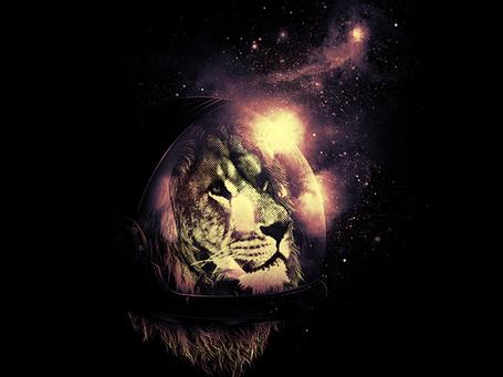 Фото Лев в шлеме на фоне звездного неба, иллюстратор Nicebleed (© Radieschen), добавлено: 11.03.2012 14:59