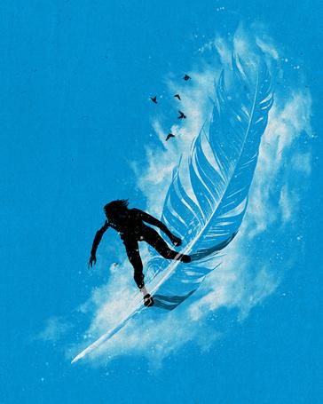 Фото Человек катается по волнам на пере, иллюстратор Nicebleed
