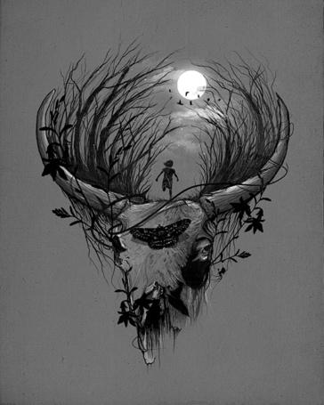 Фото На черепе оленя растут деревья и бегает маленькая девочка, иллюстратор Nicebleed