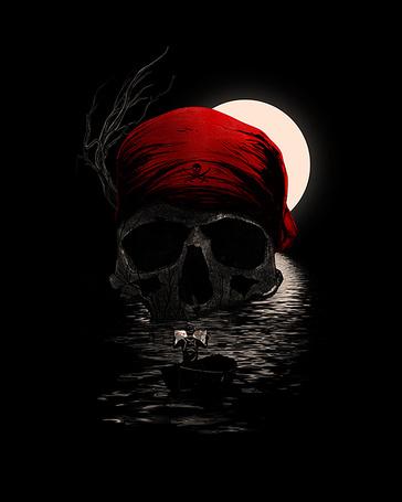 Фото Пиратский череп в красной бандане лежит посреди моря, к нему подплыл искатель сокровищ, иллюстратор Nicebleed