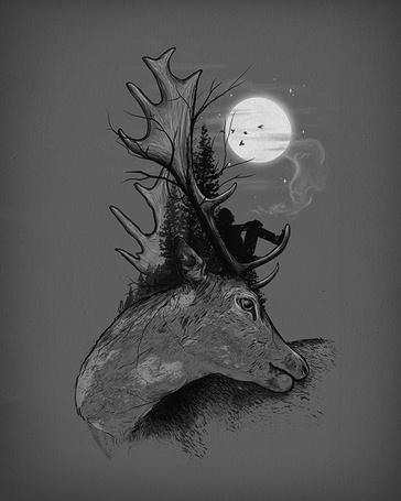 Фото Человек сидит на голове оленя, смотрит на луну, курит и размышляет о жизни, иллюстратор Nicebleed (© Radieschen), добавлено: 11.03.2012 15:02