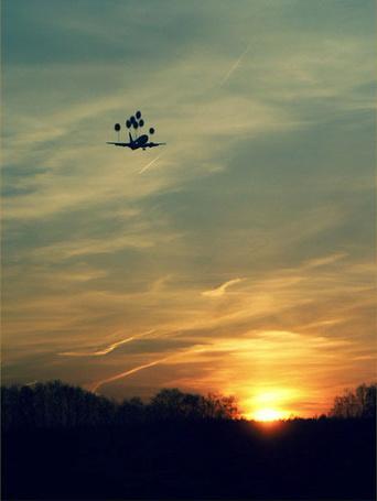 Фото Самолет взлетел на воздушных шарах на закате, художник Дмитрий Максимов с философским взглядом на жизнь (© Radieschen), добавлено: 15.03.2012 07:45