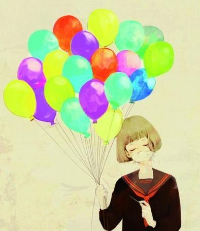 Фото Девушка со связанным ртом держит воздушные шары (© Фенн), добавлено: 16.03.2012 14:08