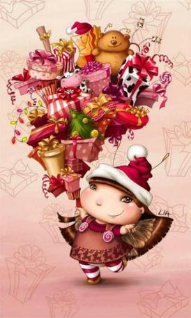 Фото Маленькая фея с кучей подарков