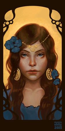 Фото Портрет девушки с украшениями и голубыми цветами в волосах, художница Даниэла Улиг / Daniela Uhlig