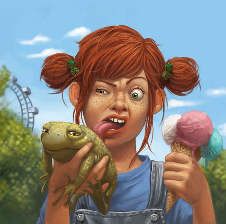 Фото Рыжая девочка держит в руках жабу и мороженное, но облизывает почему-то жабу, художница Даниэла Улиг / Daniela Uhlig