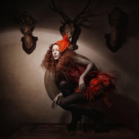Фото Девушка и висящие на стене оленьи головы, фотограф Sylwia Makris (© Radieschen), добавлено: 27.03.2012 12:03