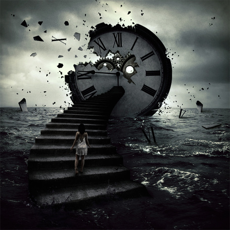Фото Часы разлетаются в разные стороны, а рядом стоит девушка