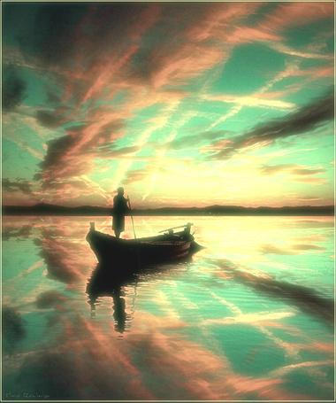 Фото Мужчина плывёт на лодке по реке (© Флориссия), добавлено: 29.03.2012 13:55