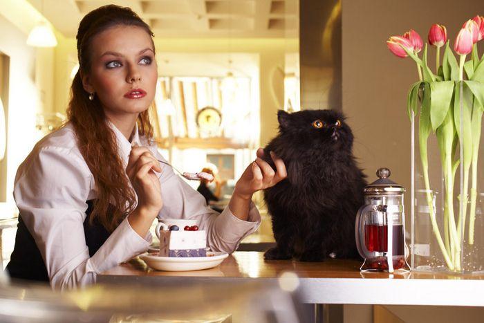 Русская девушка с котом