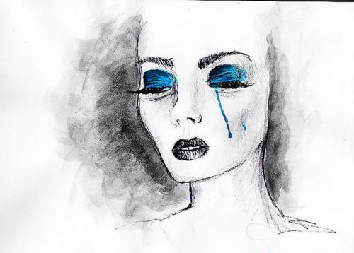 Фото Рисунок плачущей девушки