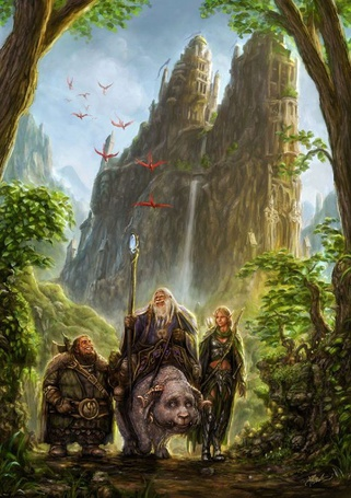 Фото Три эльфа путешествуют по лесу