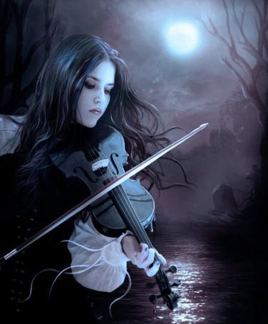 Фото Девушка играющая на скрипке лунной ночью