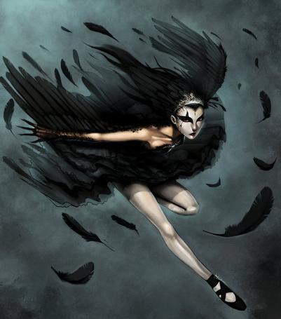 Фото Девушка - ворон летит и теряет перья, иллюстратор Ninjatic (© Radieschen), добавлено: 02.04.2012 14:36