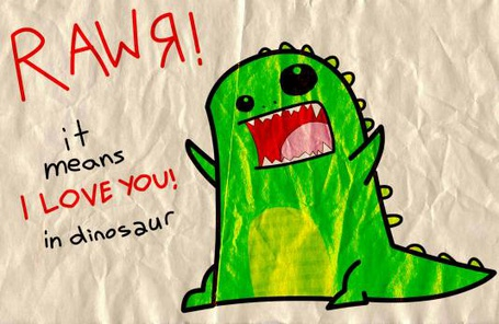 Фото Веселый динозавр (RAWЯ it means I LOVE YOU! in dinosaur)
