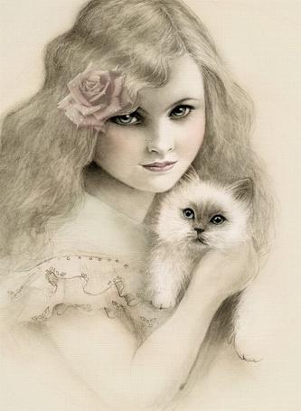 Фото Девочка с котёнком (© Anatol), добавлено: 10.04.2012 18:48