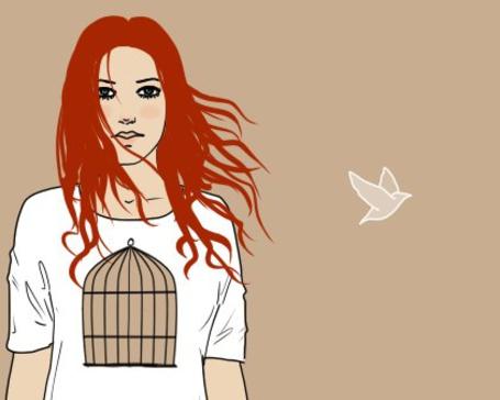 Фото Рыжеволосая девушка стоит с клеткой в животе, а рядом с ней птичка (© Julia_57), добавлено: 12.04.2012 15:01