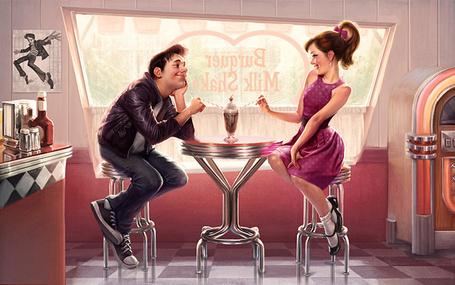 Фото Свидание в кафе, парень и девушка едят мороженное, иллюстратор Вилл Мурай / Will Murai