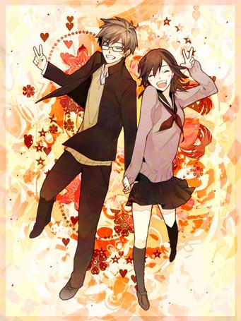 Фото Парень в очках и девушка в школьной форме держатся за руки
