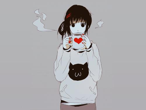 Фото аниме девушка с толстовке кошкой
