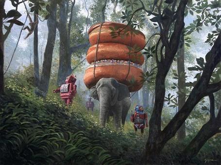 Фото Слон тащит на спине пончики сквозь джунгли, его охраняют роботы (Eric Joyner) (© Кофе мой друг), добавлено: 02.05.2012 17:40