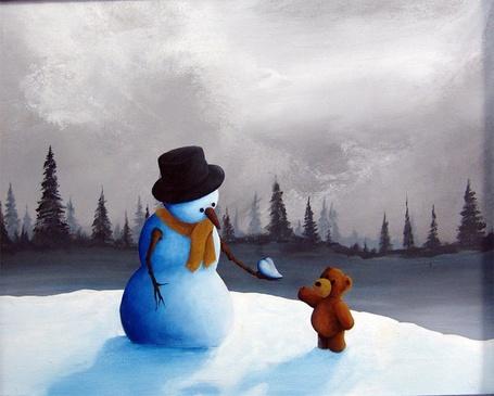 Фото Снеговик дает мишке снежное сердце (Robert Dowling Jr.) (© Кофе мой друг), добавлено: 02.05.2012 17:51