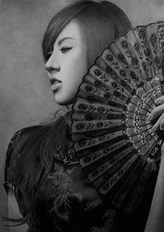 Фото Загадочная девушка с веером, карандашный портрет, художник Klsadako (© Radieschen), добавлено: 05.05.2012 17:26