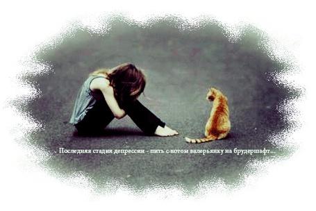 Фото Девушка сидит на асфальте с рыжим котом ('Последняя стадия депрессии - пить с котом валерьянку на брудершафт')