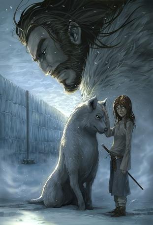 Фото Девочка с белым волком, сверху за ними наблюдает дьявол
