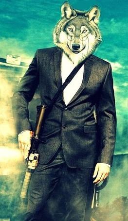 Фото Мужчина с головой волка и автоматом (© Еж-Конопатый), добавлено: 08.05.2012 09:38
