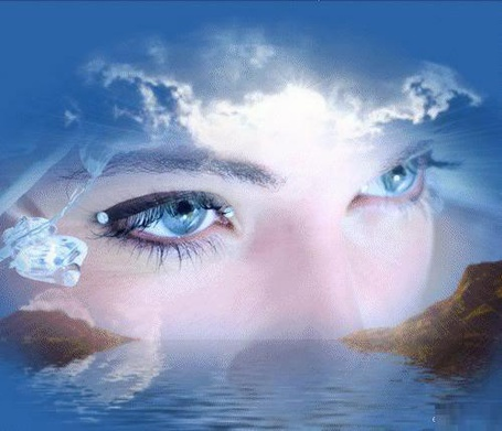 Фото Коллаж: голубоглазая девушка и природа