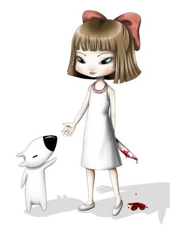 Фото Девочка прячет за спиной окровавленный нож, рядом - собачонка - Рисунки от Ekimma