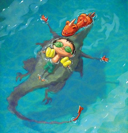 Фото Мальчик плавает на спине закрыв глаза, под ним плавает красный дракон в точно такой же позе