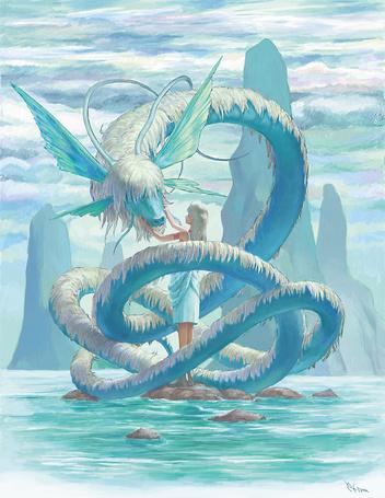 Фото Девушка и голубой дракон посреди моря и скал