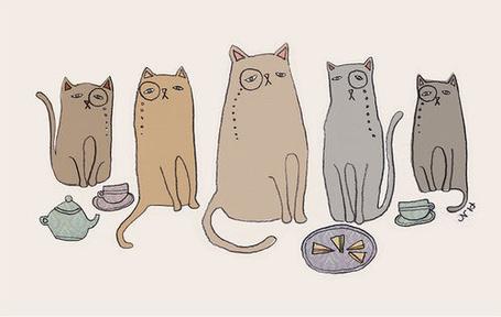 Фото Коты в моноклях пьют чай с тортом (© Кофе мой друг), добавлено: 15.05.2012 11:46