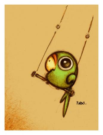 Фото Зелёный попугайчик катается на качелях, художник - Fabo (© Malenkoe 4ydo), добавлено: 15.05.2012 17:25