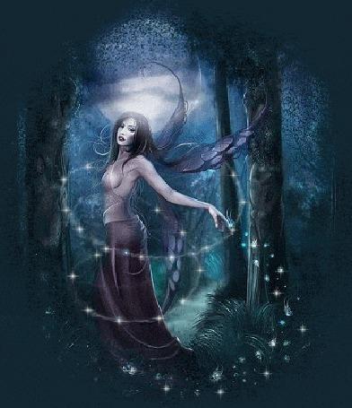 Фото Девушка - фея в кругу светлячков.Очарование ночного леса