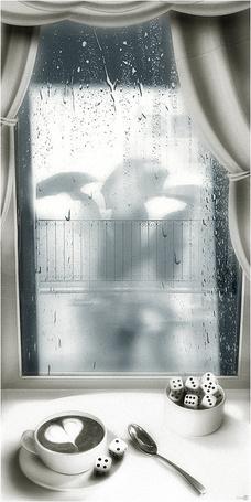 Фото Кофе на белом столике у окна, вместо кубиков сахара игральные кости за окном силуэты людей с зонтами. Кофе в дождливый день. Фото-художник Станислав Одягайло (© Natko), добавлено: 19.05.2012 21:00