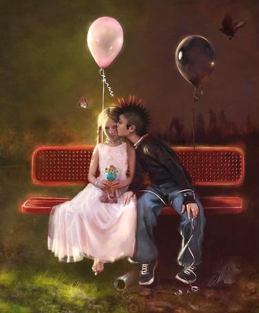 Фото Мальчик-панк в чёрном и с чёрным воздушным шаром, целует босую девочку в розовом платье и с розовым воздушным шаром над ними летят ворон и бабочка