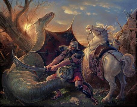 Фото Рыцарь наносит смертельный удар мечом страшному дракону (© Anatol), добавлено: 27.05.2012 21:49