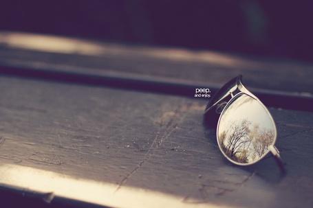 Фото Солнечнозащитные очки, в которых отражаются деревья и небог, лежат на скамье (peep. and enjoy / Смотри. и наслаждайся) (© Юки-тян), добавлено: 28.05.2012 12:28