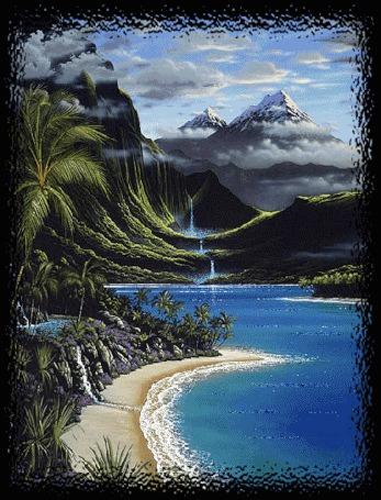Фото Тропический остров .Через водопады река спускается с гор и впадает в океан . Волны набегают на пляж .Облака плывут по небу