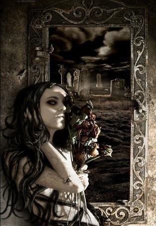 Фото Оживший мертвец с букетом роз, в окно видно кладбище с надгробиями