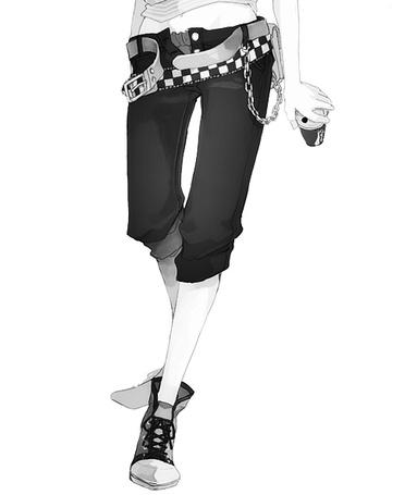 Фото Девушка в расстёгнутых модных бриджах и кедах с напитком в руке (© D.Phantom), добавлено: 29.05.2012 10:07