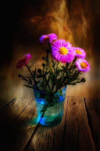 Фото Букет цветов в стакане