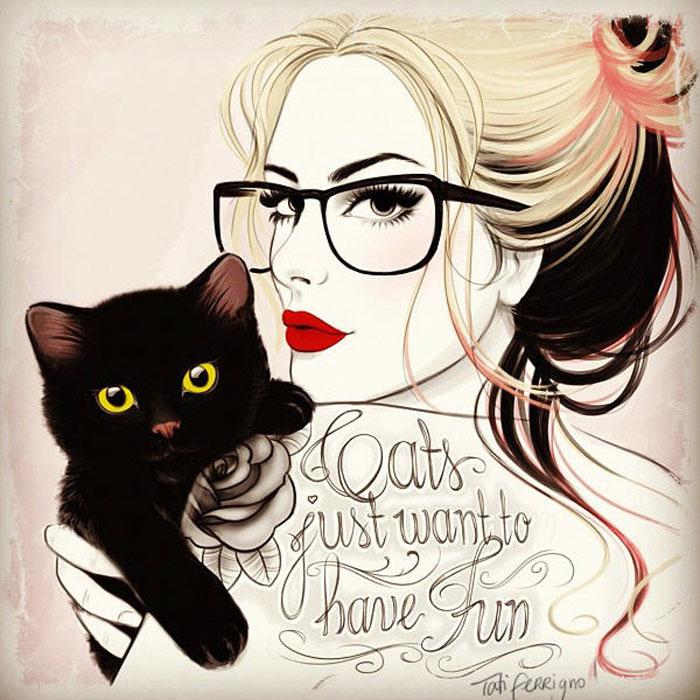 Фото девушка в очках с татуировкой и