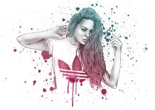 Фото Нарисованная девушка в футболке ...: photo.99px.ru/photos/59418