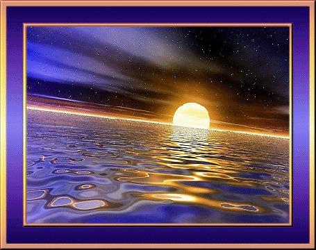 Фото Солнце садится в океан . На небе проступили звёзды