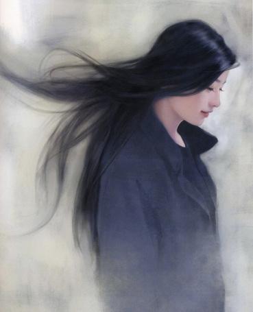 Фото Азиатка в черном пальто (художница Чен Шу-Фен / Chen Shu-Fen)