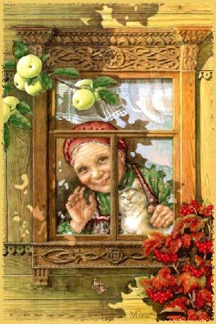 Фото Старушка с кошкой в окне (Mira) (© Antuannet), добавлено: 05.06.2012 03:14
